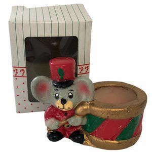 Vintage Christmas Candle Mouse & Drum